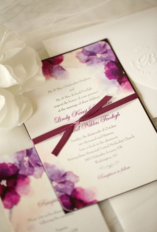 Plum Hued Flower Watercolor Wedding Invitation