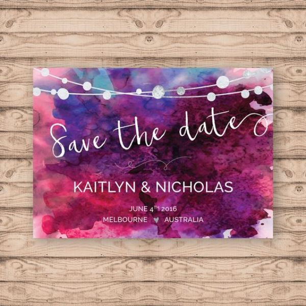 Purple Watercolor Save-The-Date