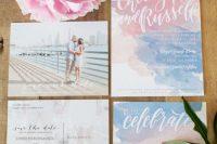 Rose Quartz And Serenity Watercolor Wedding Invitation