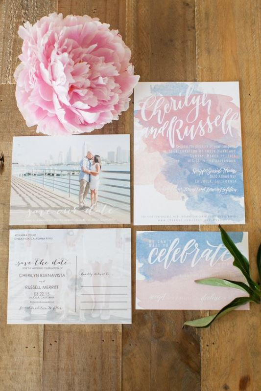 Rose Quartz And Serenity Watercolor Wedding Invitation