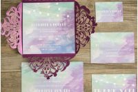 Shades Of Purple, Blue And Green Watercolor Wedding Invitation