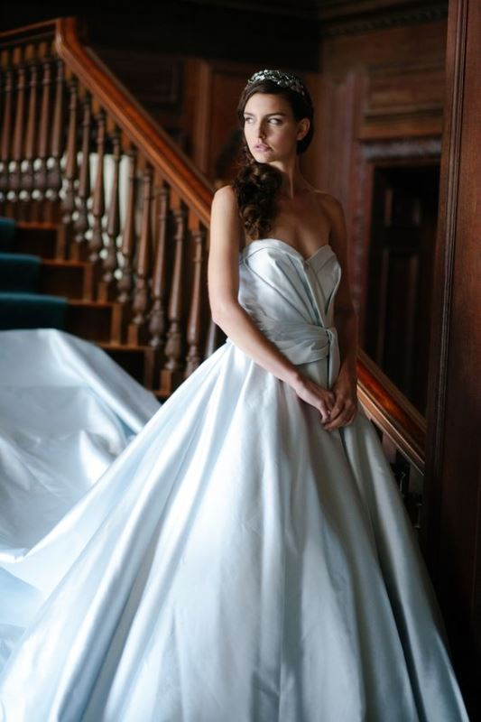 Picture Of Soft Blue Silk Wedding Gown By Sareh Nouri Fall 2016