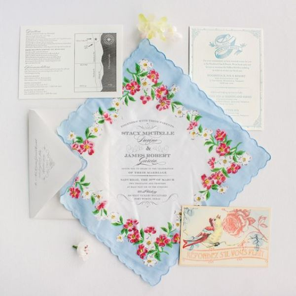 21 Charming Handkerchief Wedding Invitations For Vintage Weddings Weddingom