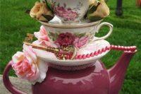 Table centerpiece for Alice in Wonderland bridal shower