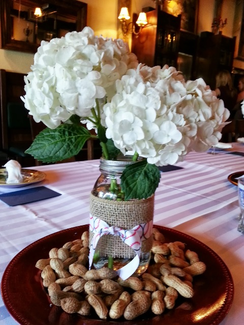 Table centerpiece for baseball bridal shower