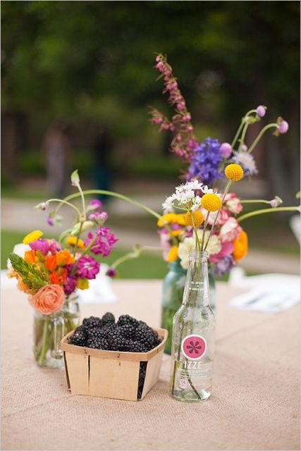 Table centerpiece with blackberries