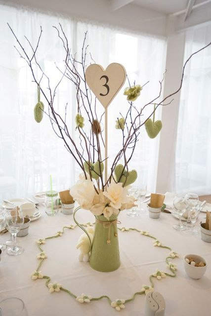 Table centerpiece with green jug