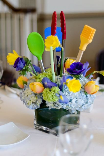 Table centerpieces for kitchen themed bridal shower