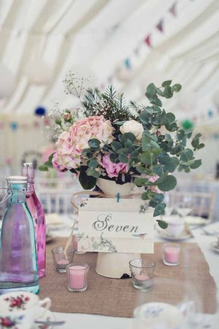 Table number with jug and flowers