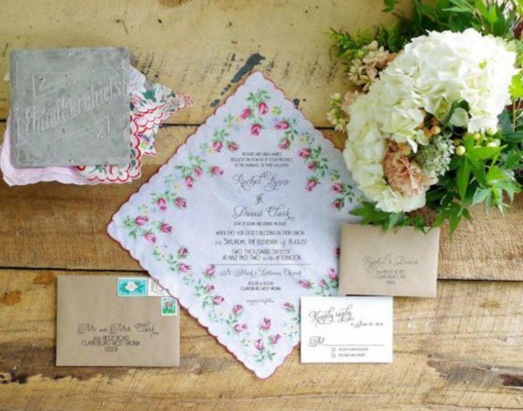 Vintage Inspired Floral Handkerchief Wedding Invitation