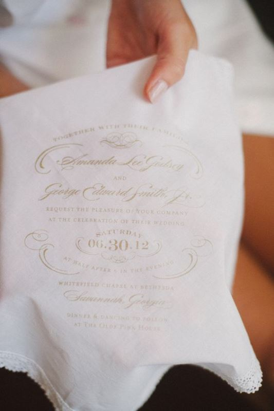 Vintage Inspired Handkerchief Wedding Invitation