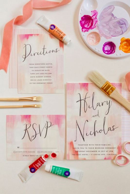 Watercolor Wedding Invitations In Pink Shades From Minted