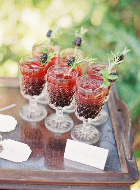 Wedding drinks with ripe blackberries