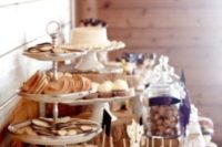 dessert table decor for a rustic bridal shower