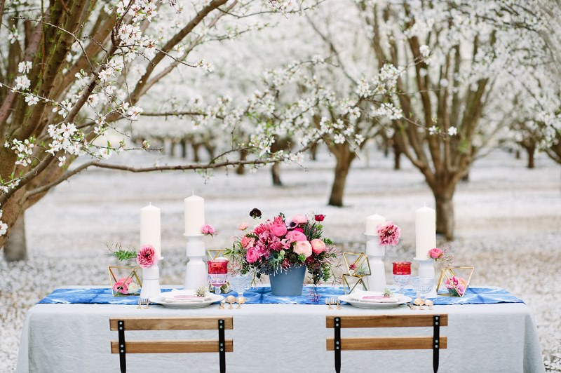 Picture Of boho meets modern wedding shoot almond orchard  13