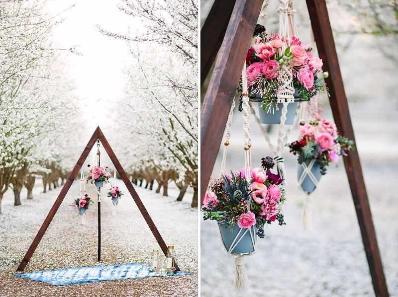 Picture Of boho meets modern wedding shoot almond orchard  14