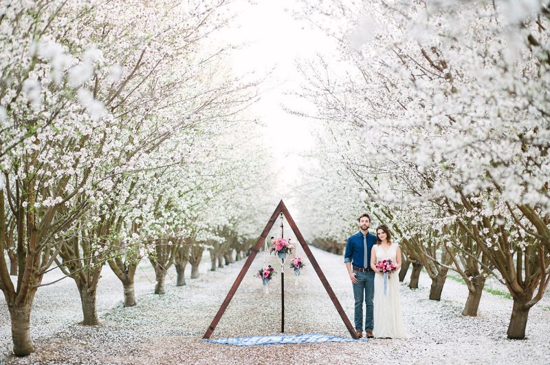 Picture Of boho meets modern wedding shoot almond orchard  15