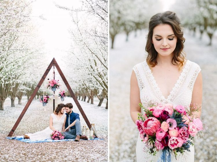 Boho Meets Modern Wedding Shoot In The Almond Orchard