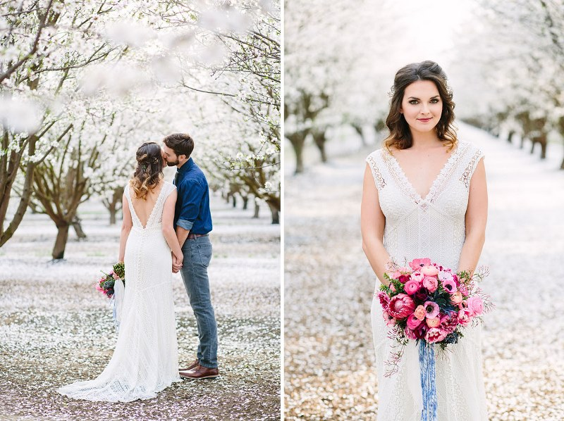 Picture Of boho meets modern wedding shoot almond orchard  5