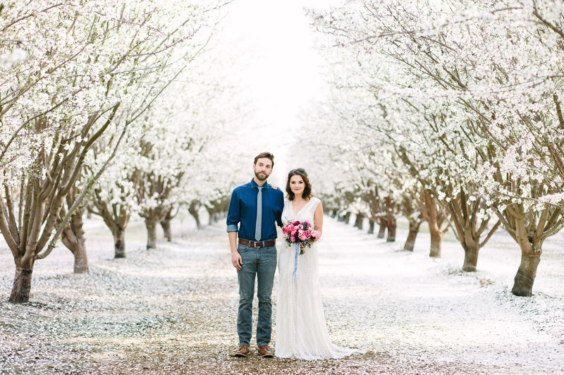 Picture Of boho meets modern wedding shoot almond orchard  7