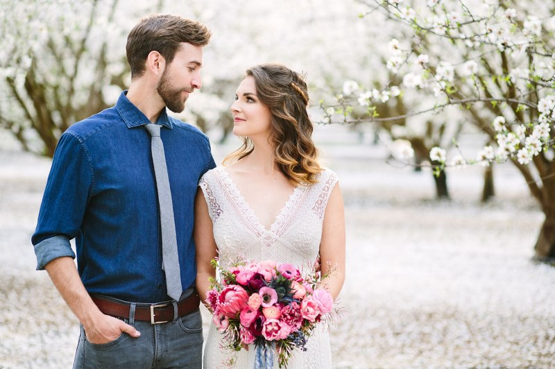 Picture Of boho meets modern wedding shoot almond orchard  8