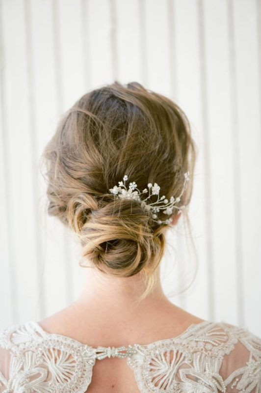 Picture Of delicate diy bridal bun hairstyle  1