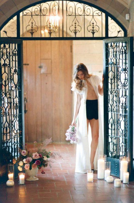 European Bridal Boudoir Shoot In Black And Peach Cream