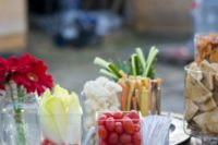 fresh veggies with dips and sauces are nice for a rustic or cowgirl bridal shower, and they are very healthy