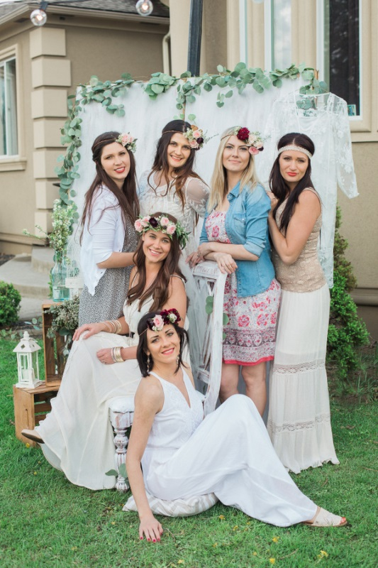Picture Of fun bohemian themed bridal shower yard  1