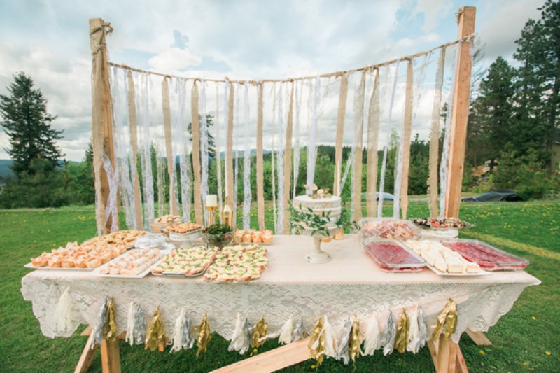 Picture Of fun bohemian themed bridal shower yard  6