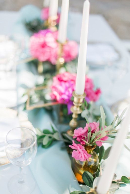 Picture Of modern breezy blue pink white grecian wedding shoot  10