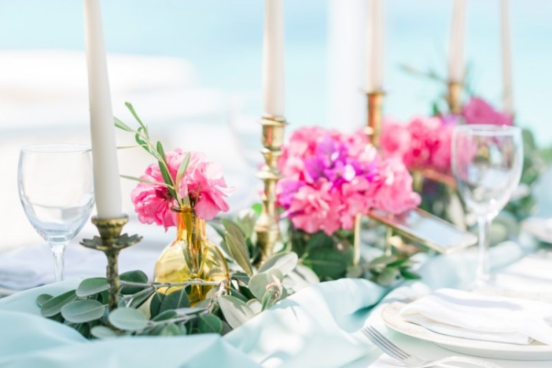 Picture Of modern breezy blue pink white grecian wedding shoot  12