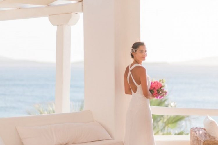Modern Breezy Blue, Pink And White Grecian Wedding Shoot