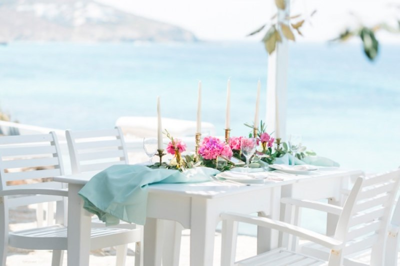 Picture Of modern breezy blue pink white grecian wedding shoot  15