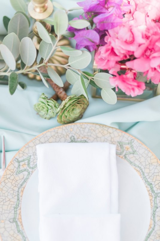 Picture Of modern breezy blue pink white grecian wedding shoot  17