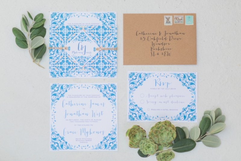 Picture Of modern breezy blue pink white grecian wedding shoot  19