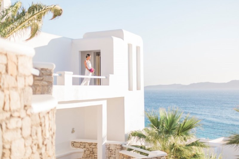 Picture Of modern breezy blue pink white grecian wedding shoot  4