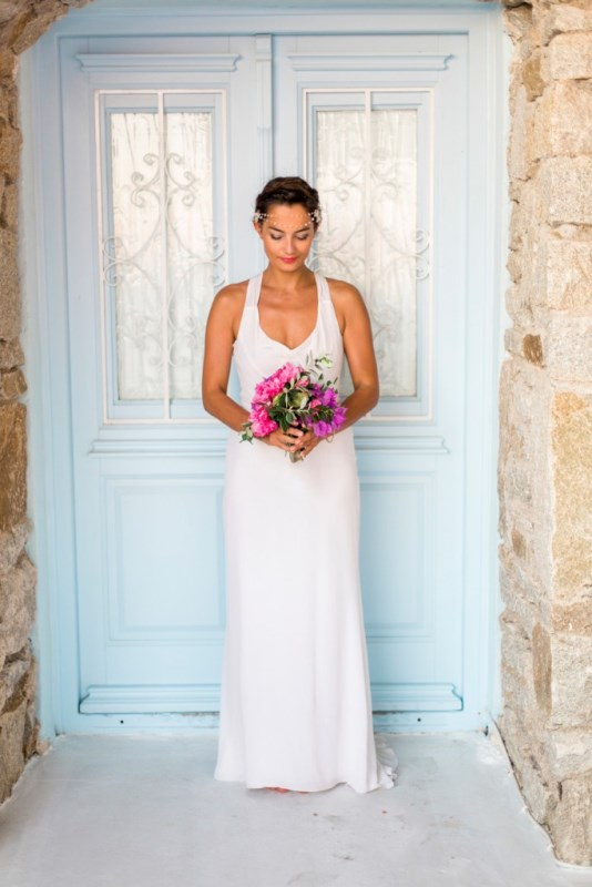 Picture Of modern breezy blue pink white grecian wedding shoot  6