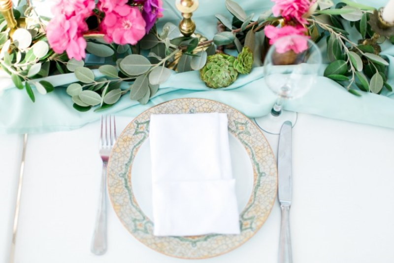 Picture Of modern breezy blue pink white grecian wedding shoot  8