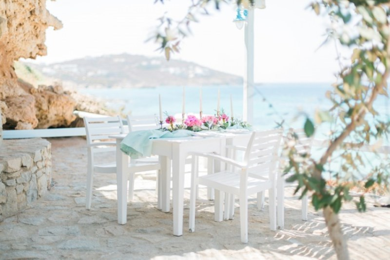 Picture Of modern breezy blue pink white grecian wedding shoot  9