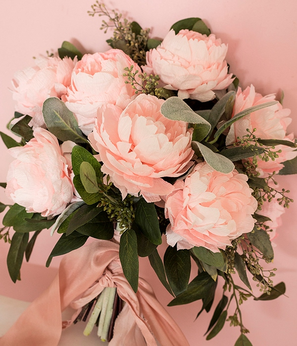 Pink DIY Paper Peony Wedding Bouquet