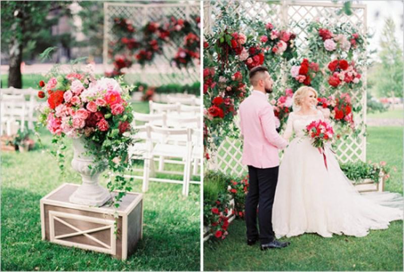Picture Of vintage chic red pink garden wedding  11