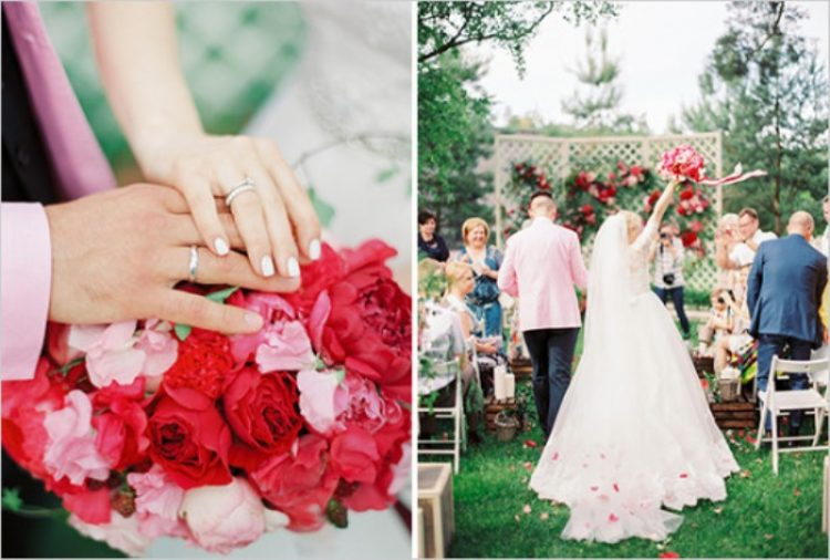 Vintage Chic Red And Pink Garden Wedding