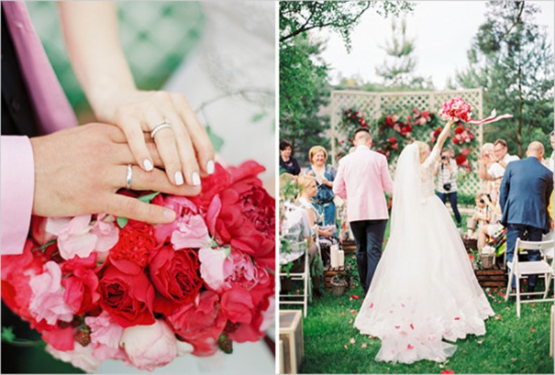 Picture Of vintage chic red pink garden wedding  13