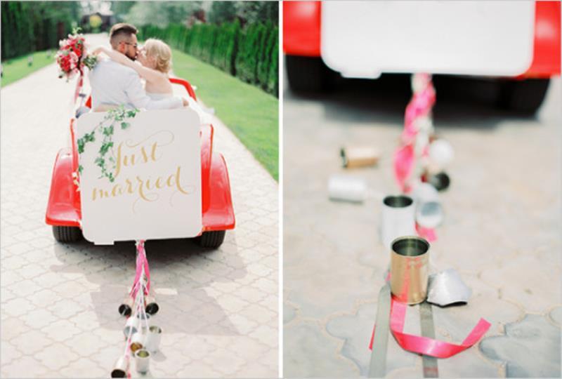 Picture Of vintage chic red pink garden wedding  18