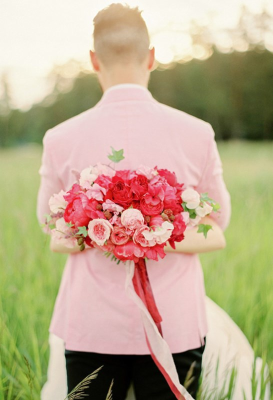 Picture Of vintage chic red pink garden wedding  2