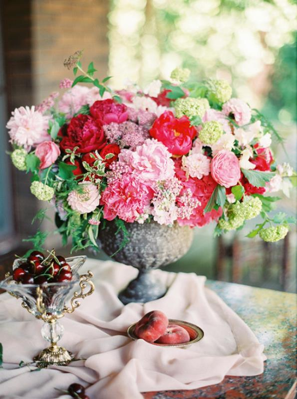 Picture Of vintage chic red pink garden wedding  3
