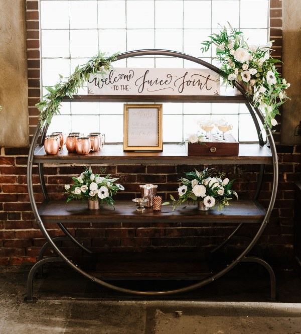 Picture Of vintage industrial rehearsal dinner copper details  18