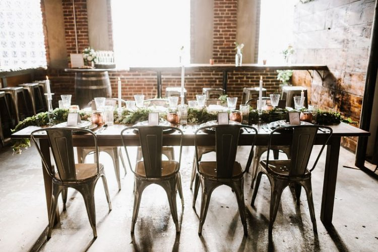 Vintage Industrial Rehearsal Dinner With Copper Details