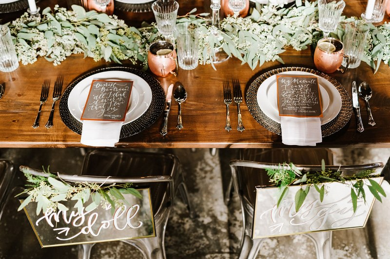 Picture Of vintage industrial rehearsal dinner copper details  5
